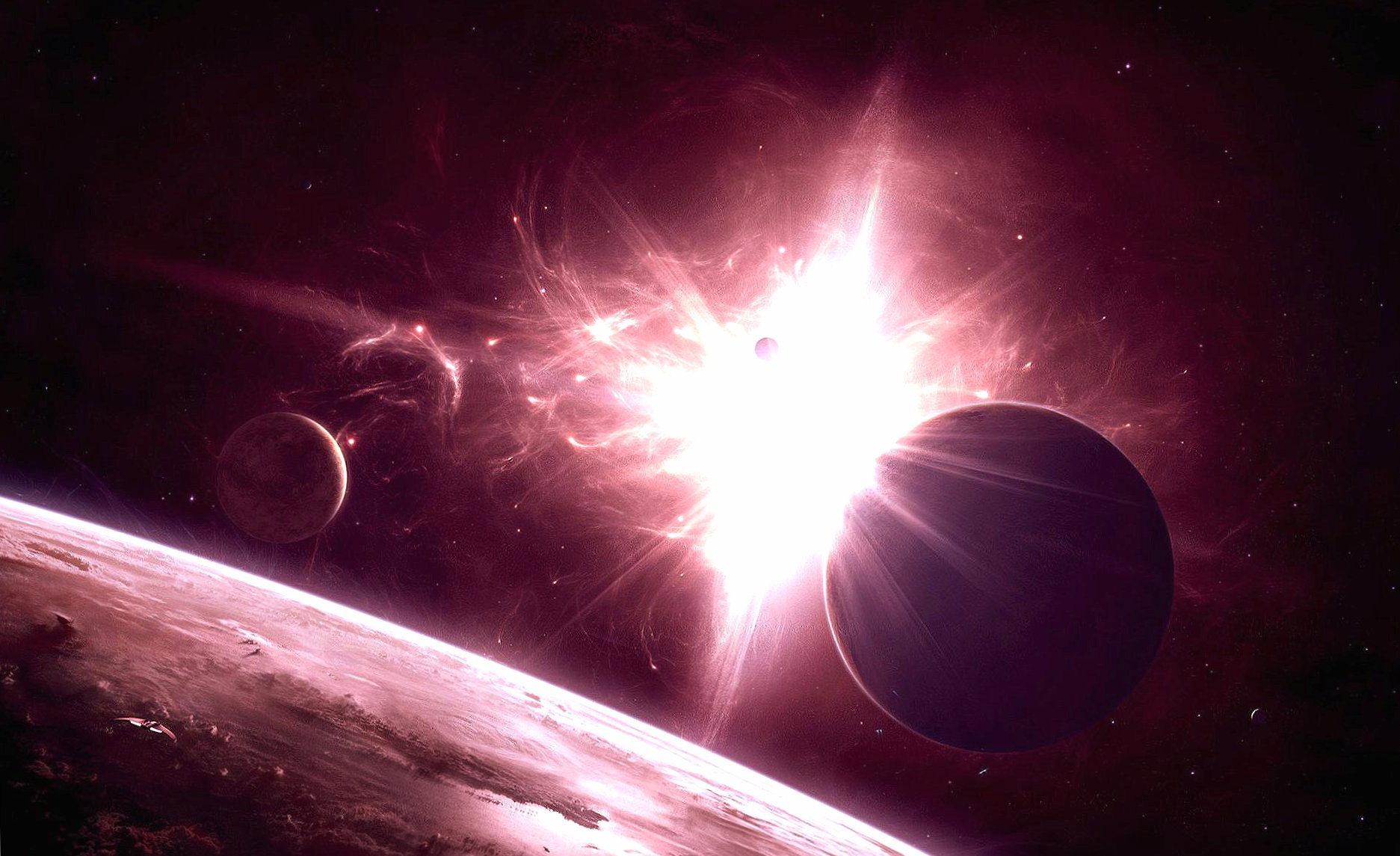 Lighting sun star planets wallpapers HD quality