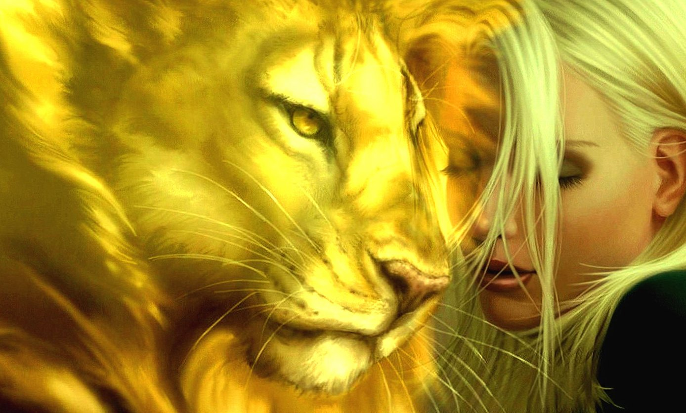 Lion and girl fantasy wallpapers HD quality