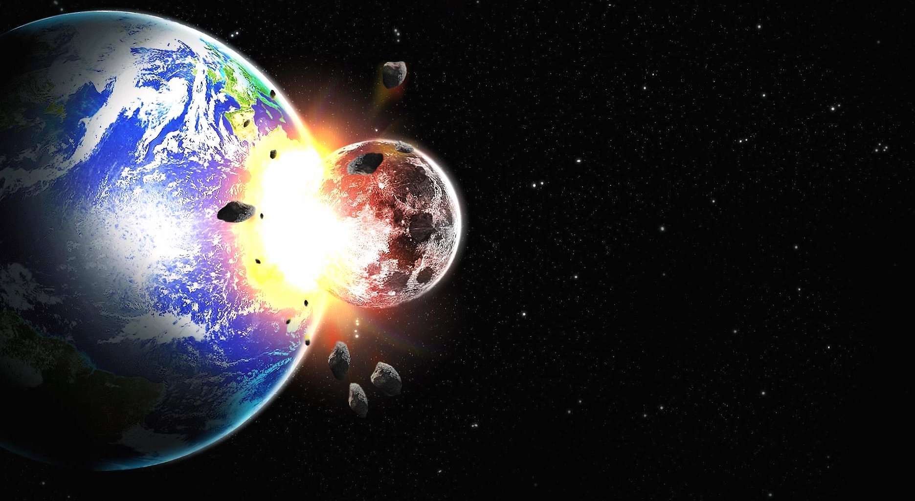 Moon and earth impact wallpapers HD quality