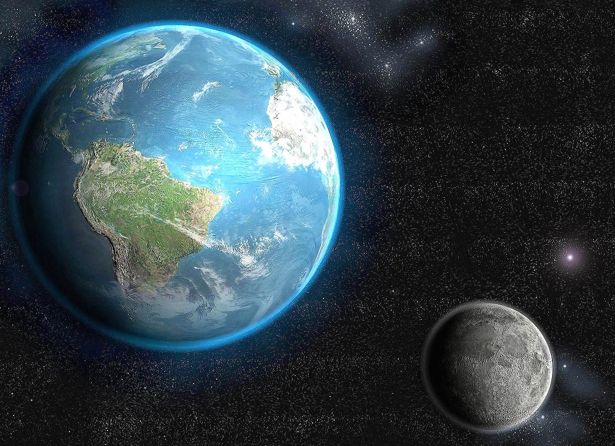 Moon and earth near wallpapers HD quality