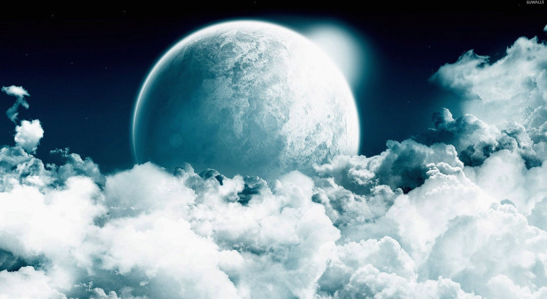 Moon rising from the clouds wallpapers HD quality