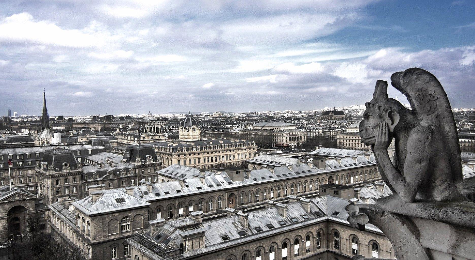 Paris landscape fron notre dame with gargoyl wallpapers HD quality