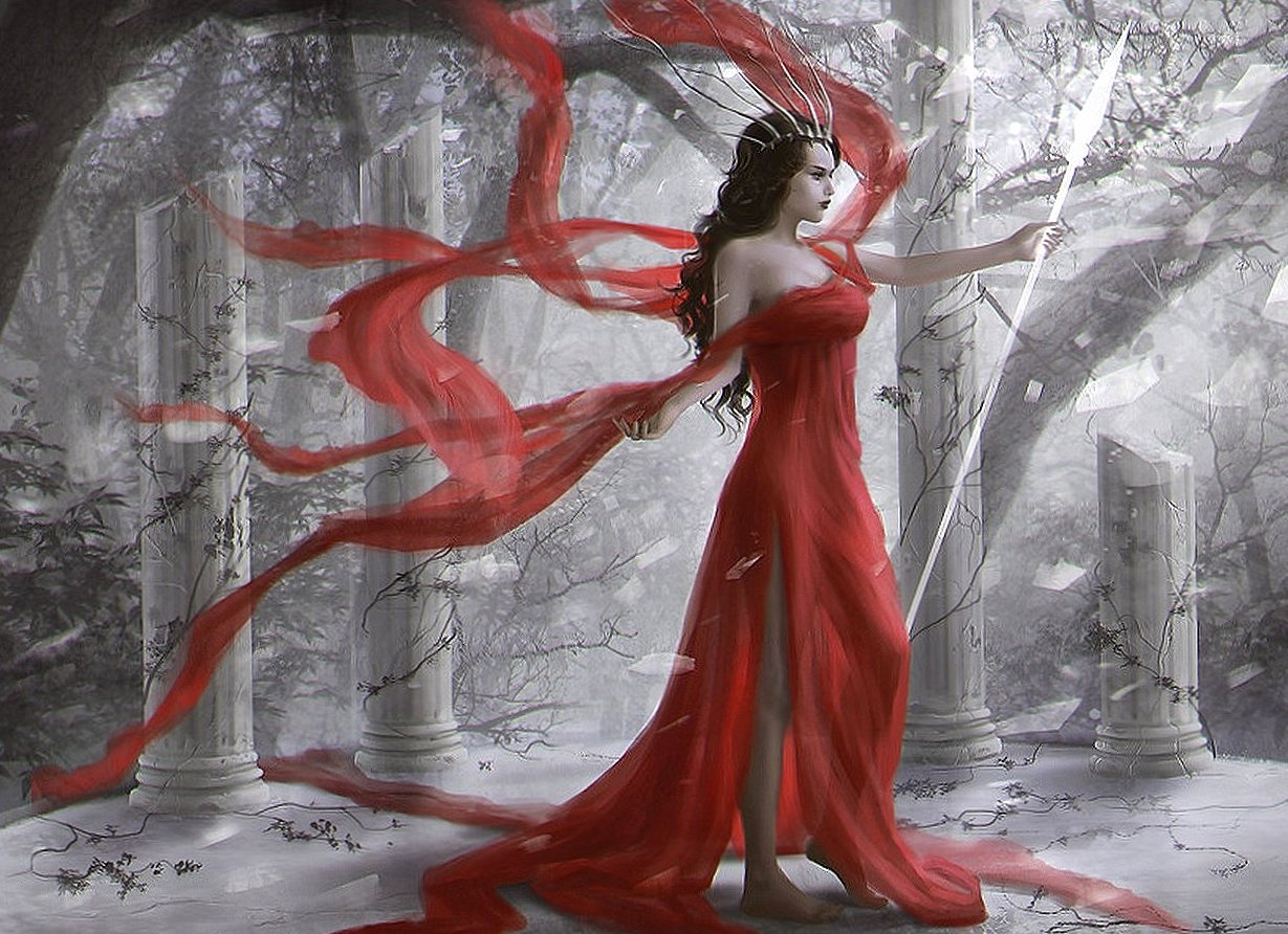 Queen red dressed fantasy wallpapers HD quality