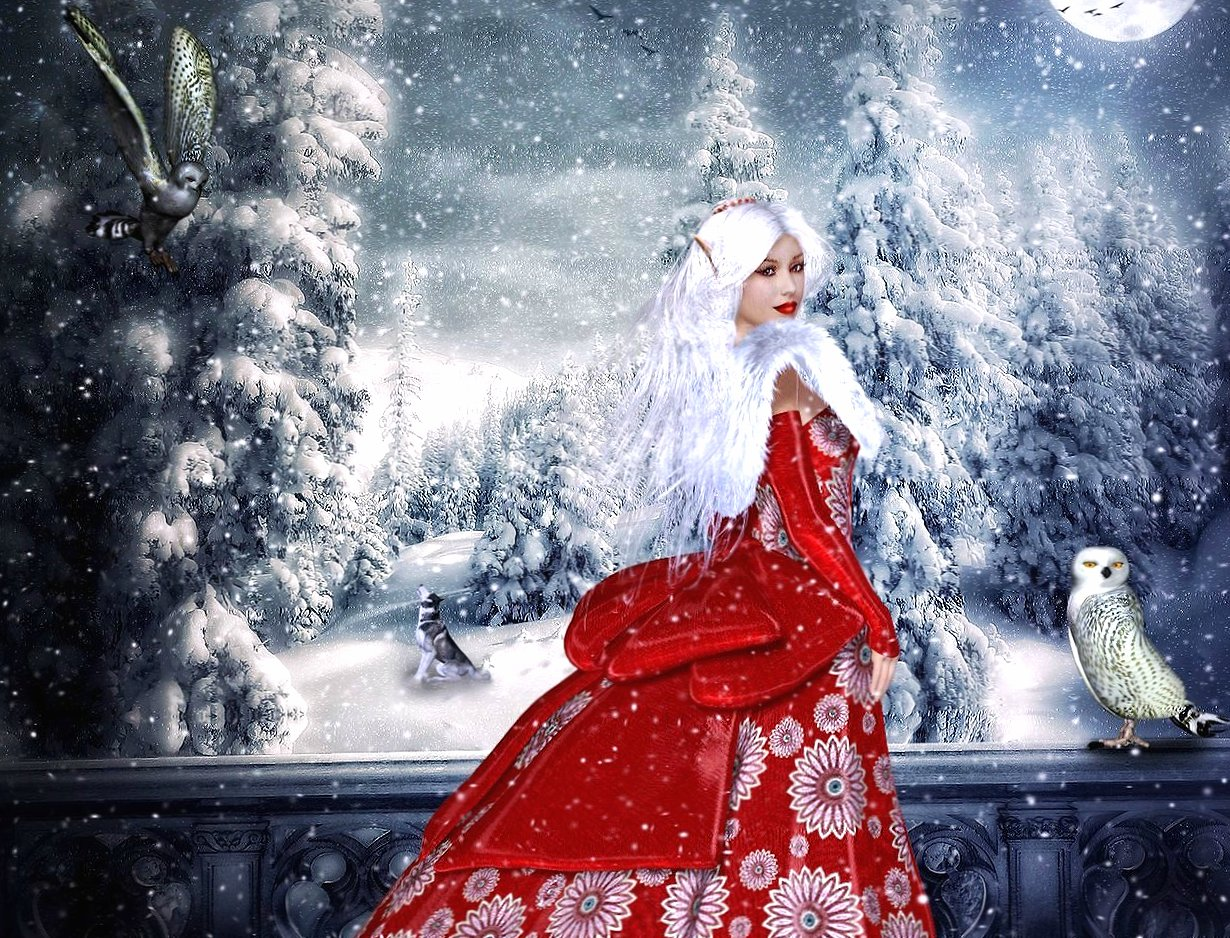 Snow winter red elf wallpapers HD quality