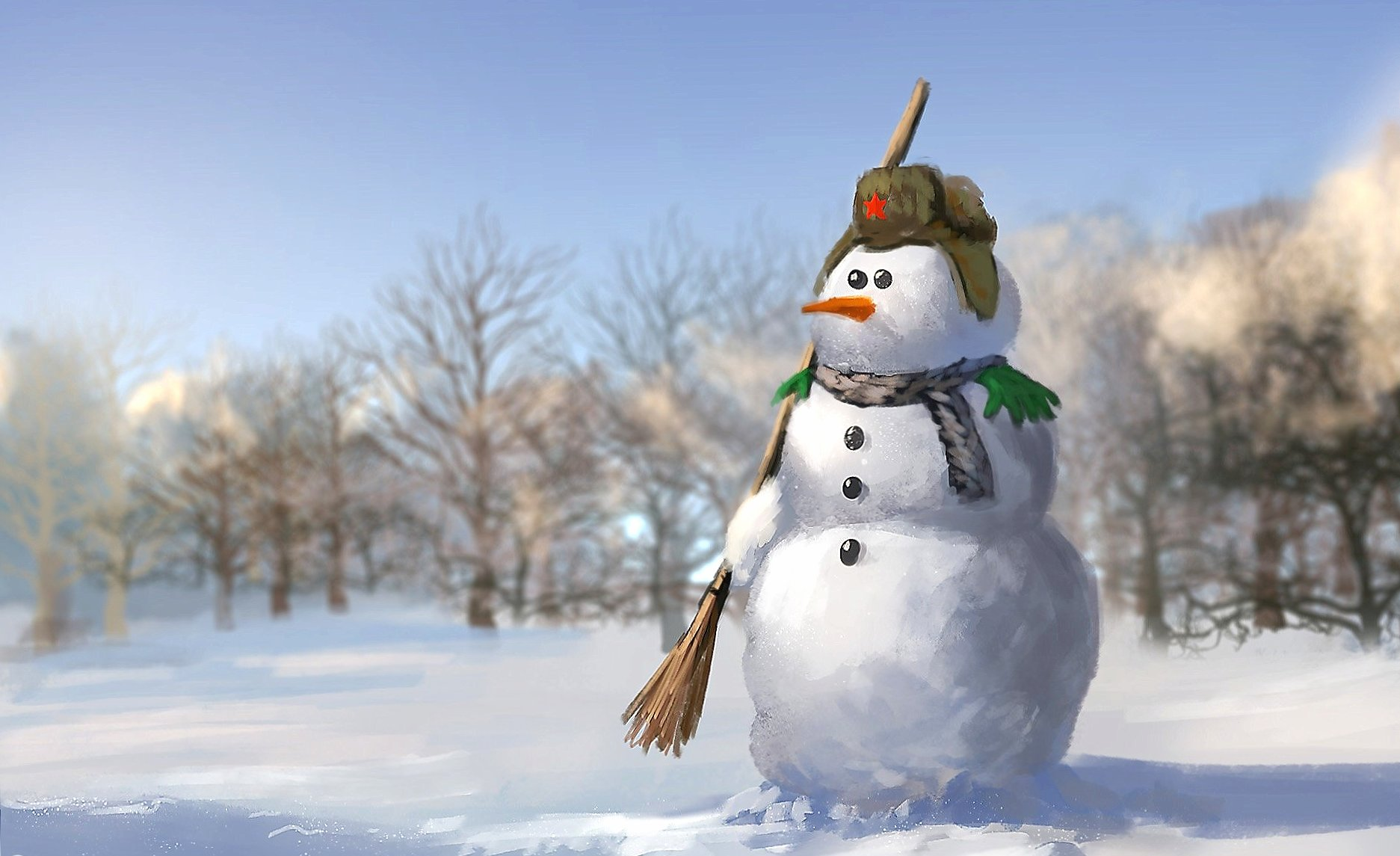 Snowman at 1024 x 768 size wallpapers HD quality