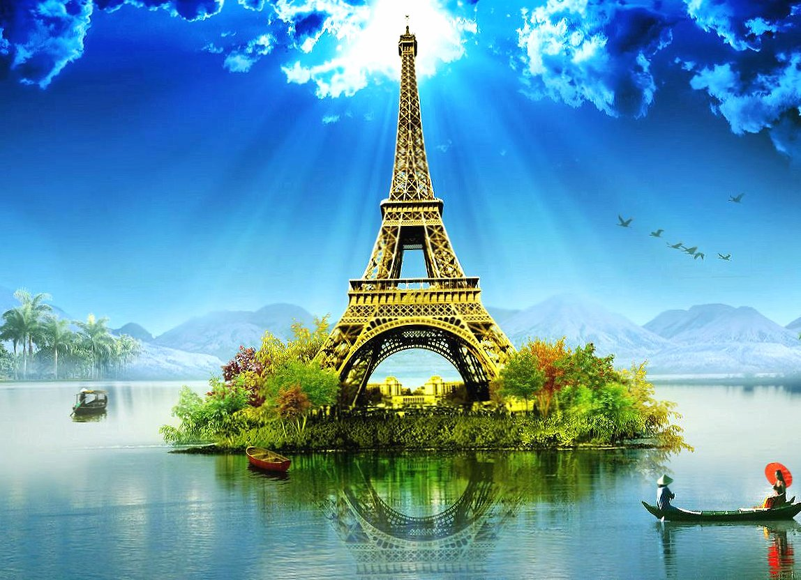 Tour eiffel island lake fantasy wallpapers HD quality