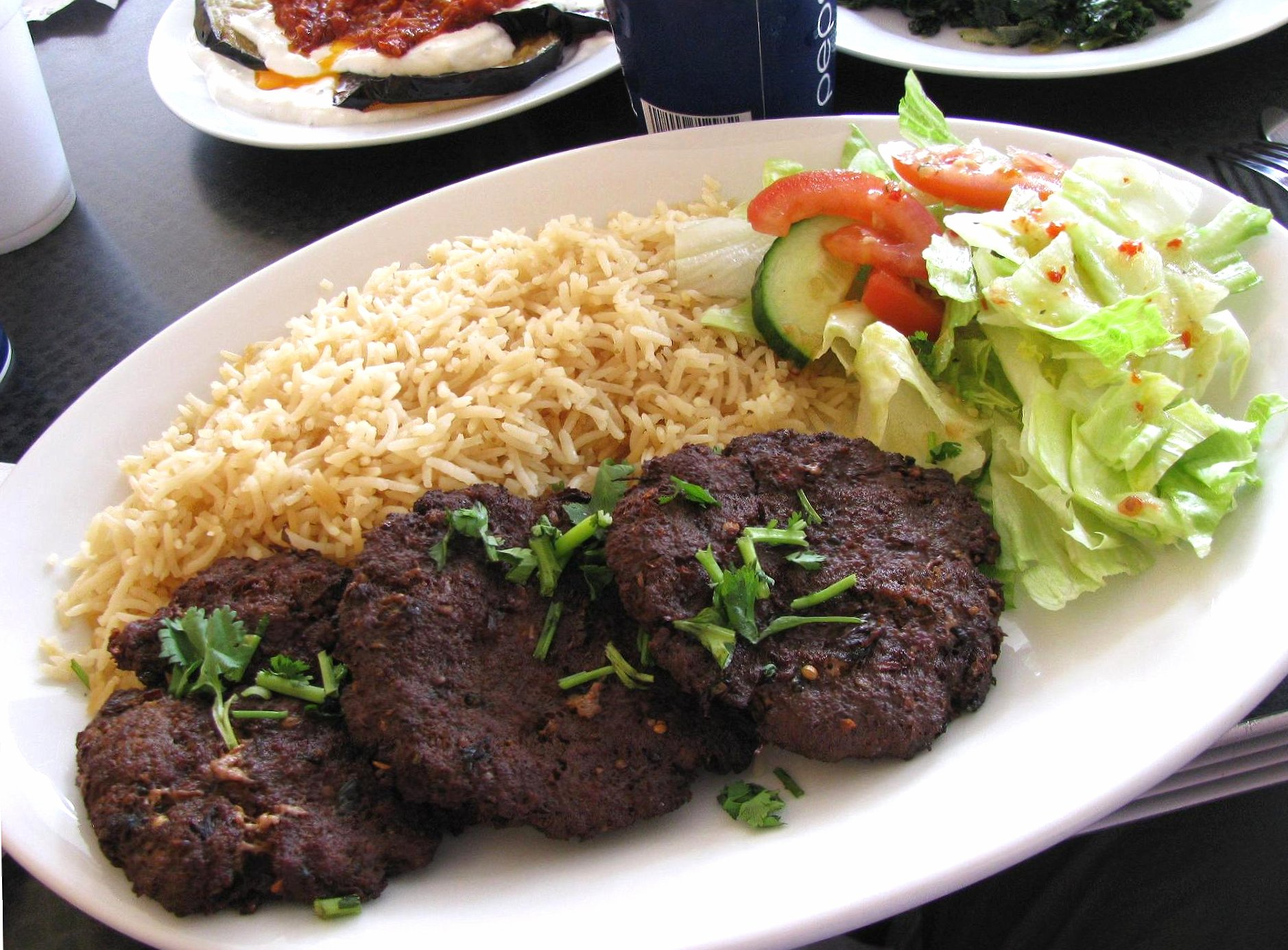 Turkish plate with rice and meat wallpapers HD quality