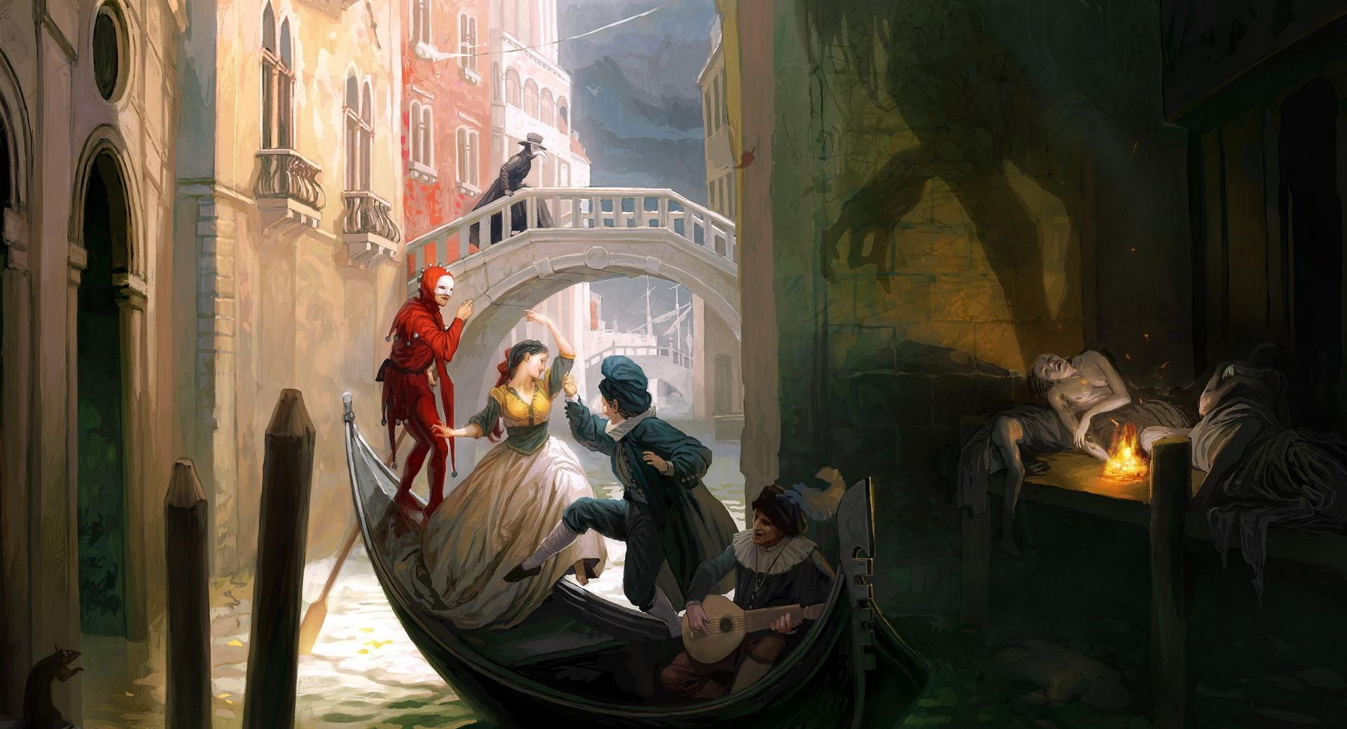 Venician Gondola Painting wallpapers HD quality
