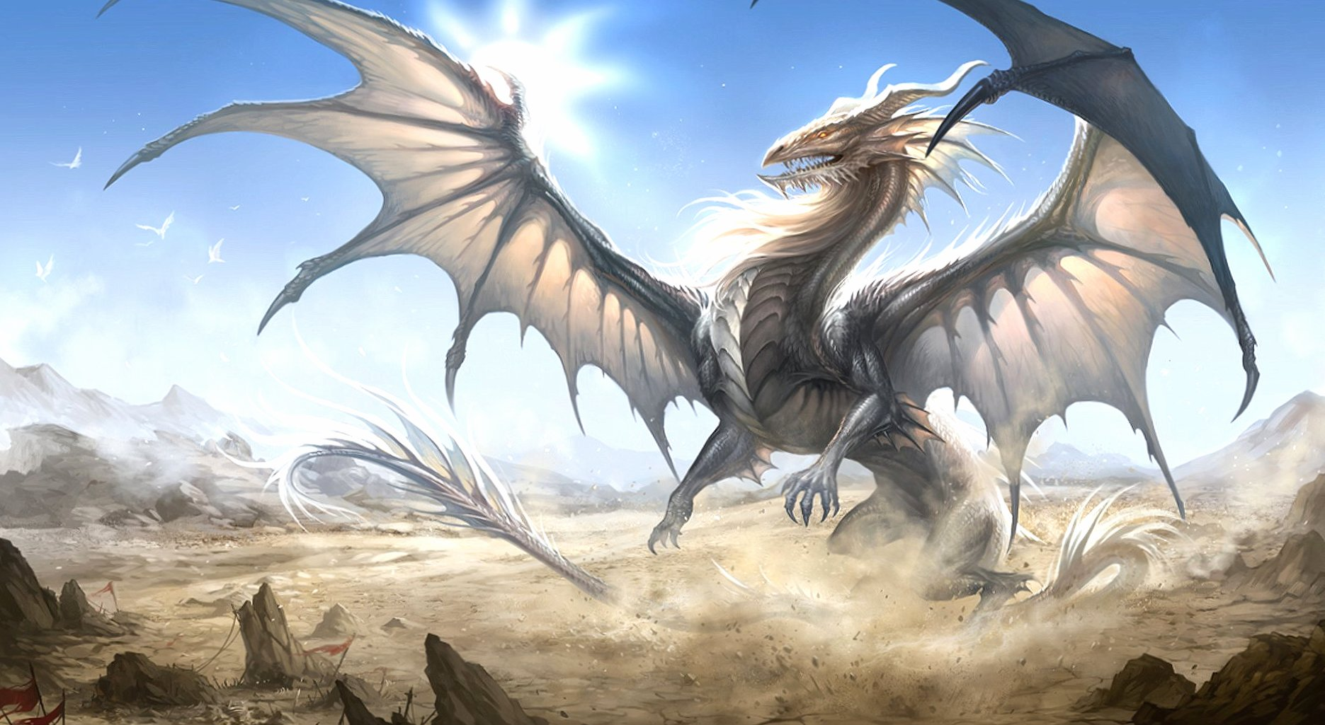 Very huge white dragon wallpapers HD quality