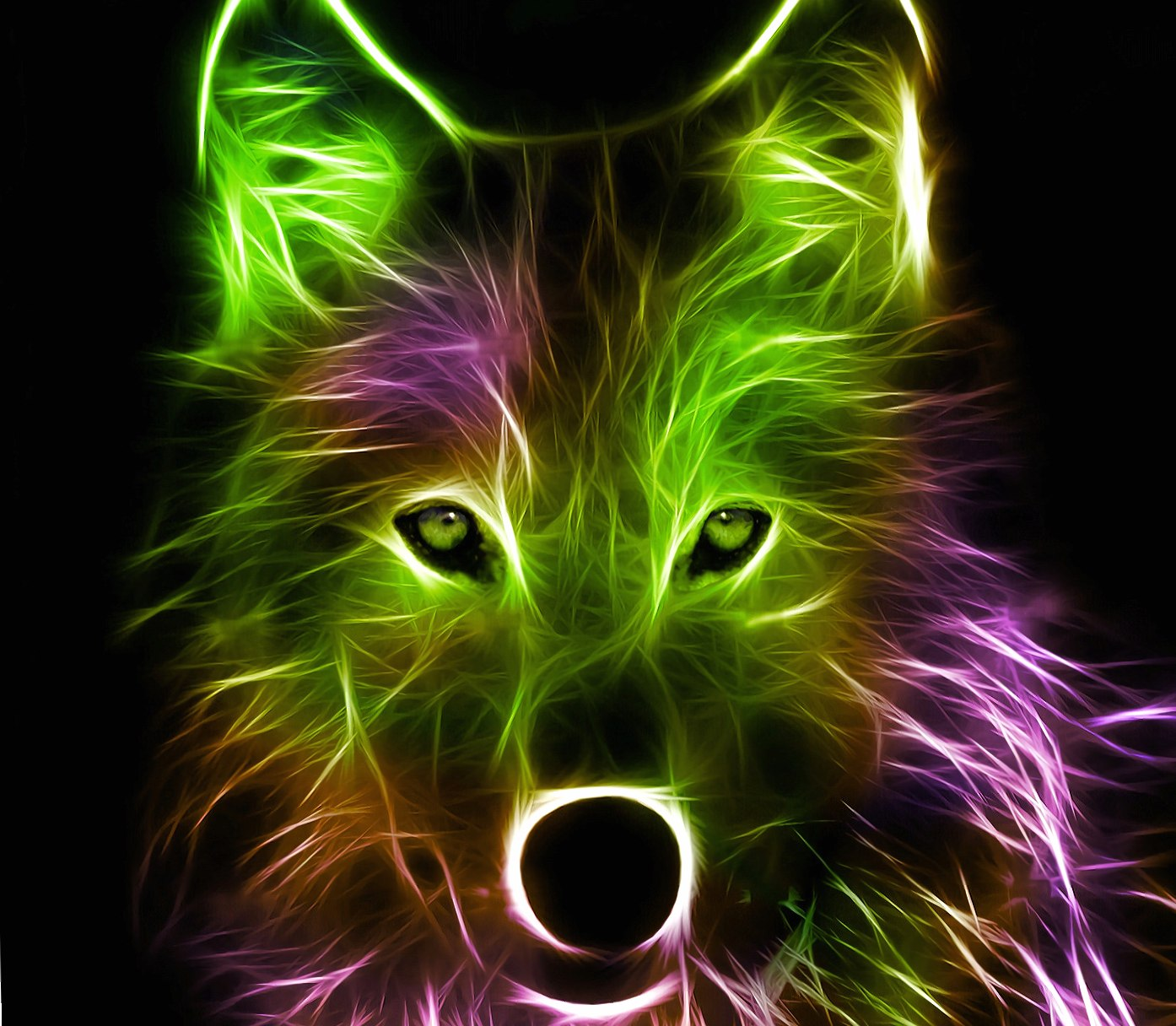 Wolf pink and green wallpapers HD quality