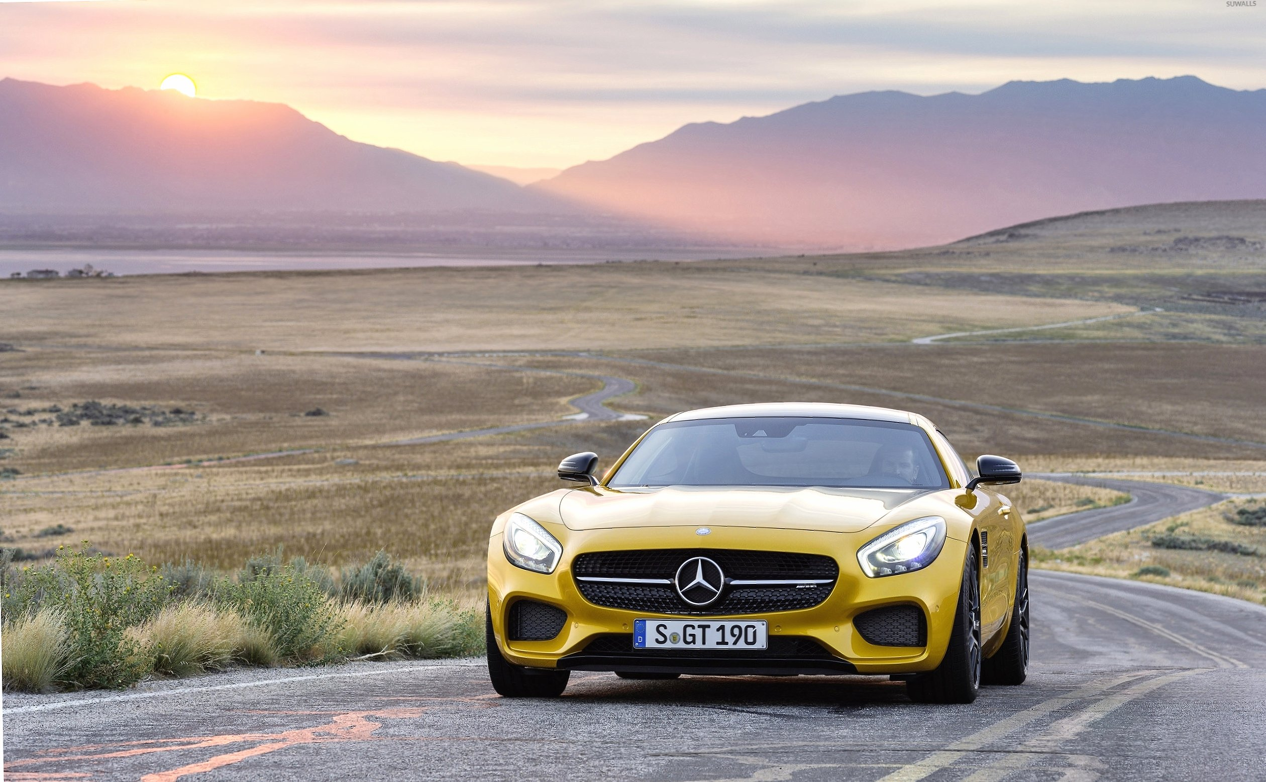 Yellow Mercedes-Benz SLS AMG at sunset wallpapers HD quality