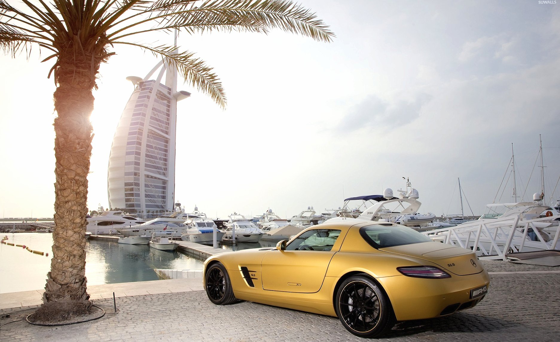 Yellow Mercedes-Benz SLS AMG in Dubai wallpapers HD quality
