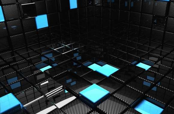 Black and blue cubes 3d digital