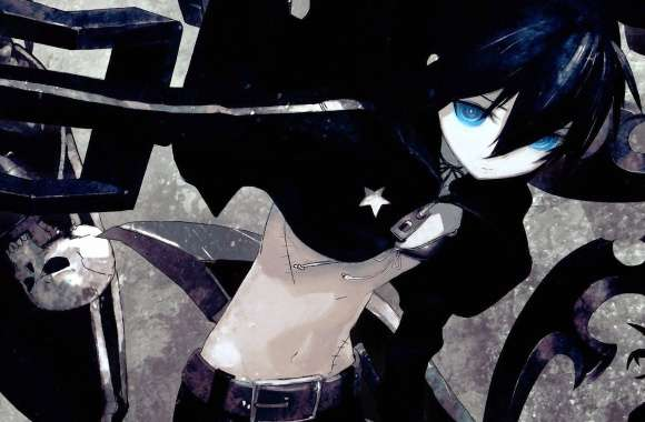Black Rock Shooter with glowing blue eyes wallpapers hd quality