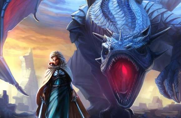 Blue dragon and girl wallpapers hd quality