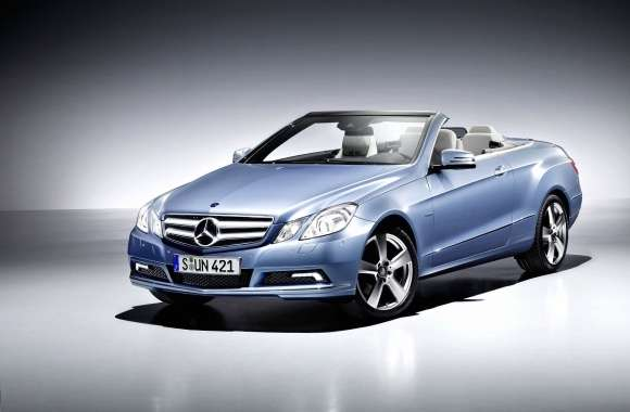 Blue Mercedes-Benz E-Class convertible front side view wallpapers hd quality