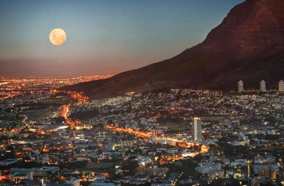 Cape town with the moon wallpapers hd quality