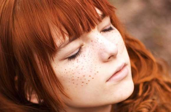 Cute redhead with closed eyes wallpapers hd quality