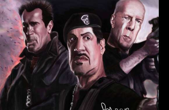 Funny stallone willis swarzenegger caricature wallpapers hd quality