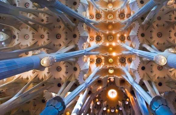 La sagrada familia interior ceiling wallpapers hd quality