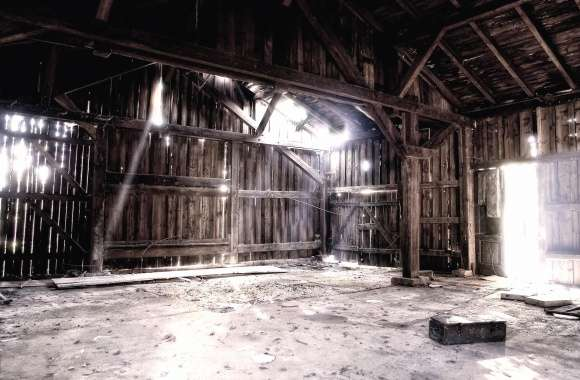 Light shines in the ruined barn wallpapers hd quality