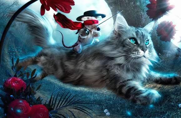 Mouse riding a cat fantasy wallpapers hd quality