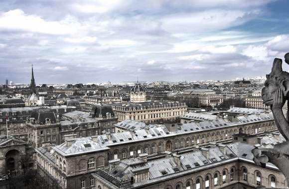 Paris landscape fron notre dame with gargoyl wallpapers hd quality