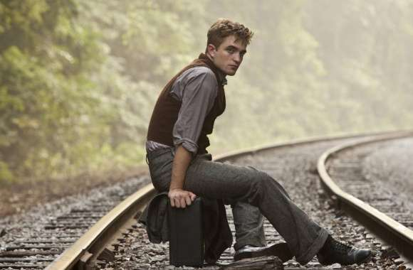 Robert Pattinson On Rail Track wallpapers hd quality