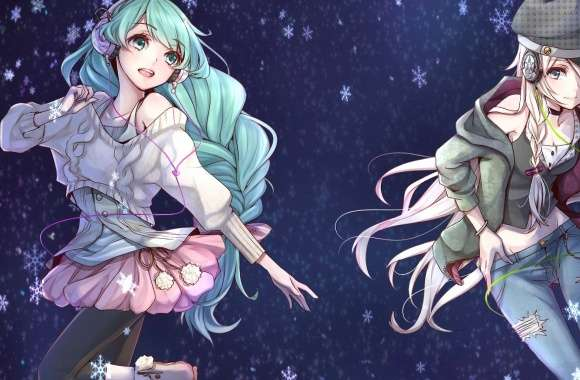SeeU and Hatsune Miku with headphonea - Vocaloid wallpapers hd quality