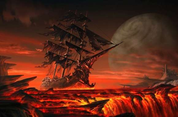 Ship in a river of lava wallpapers hd quality
