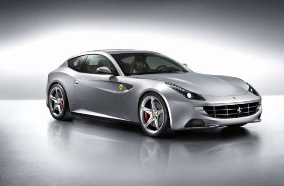 Silver Ferrari FF in a studio wallpapers hd quality