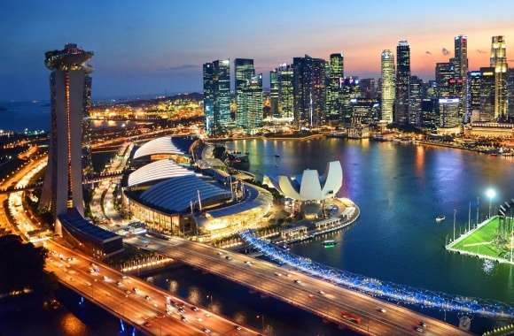 Singapore by night wallpapers hd quality