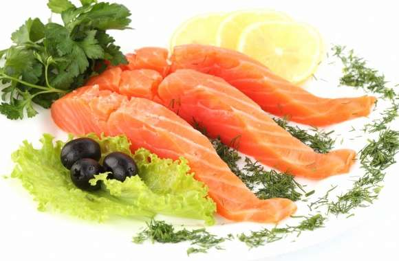 Sliced salmon fish food wallpapers hd quality