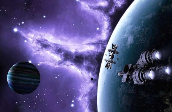 Spaceships near planet wallpapers hd quality