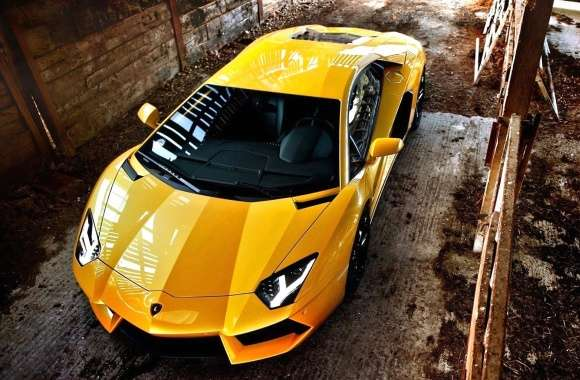 Top view of a yellow Lamborghini Aventador wallpapers hd quality