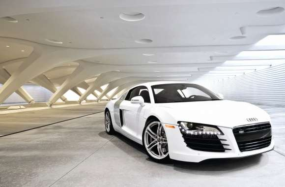 White Audi R8 in a parking lot wallpapers hd quality