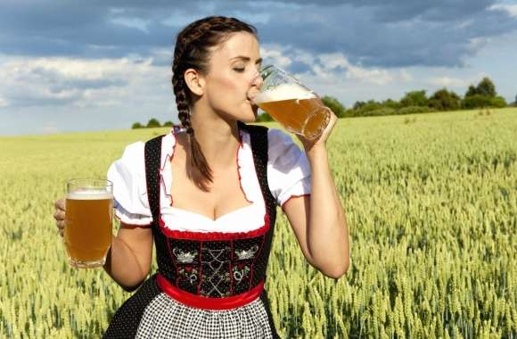 Woman drink beer wallpapers hd quality
