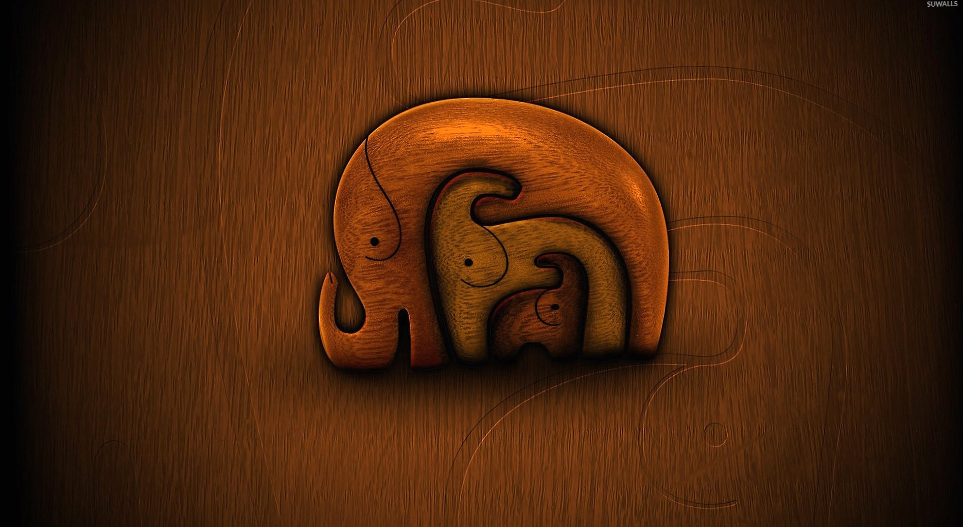 Elephants carved in the wood wallpapers HD quality