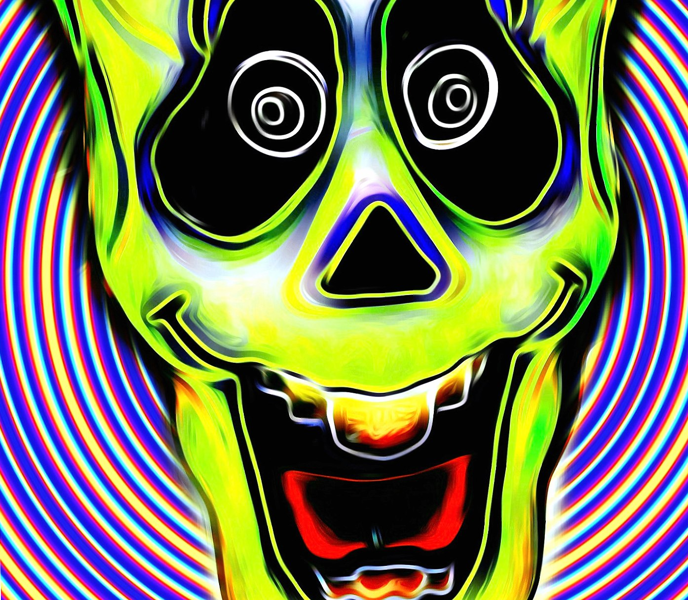 Green Trippy skull wallpapers HD quality