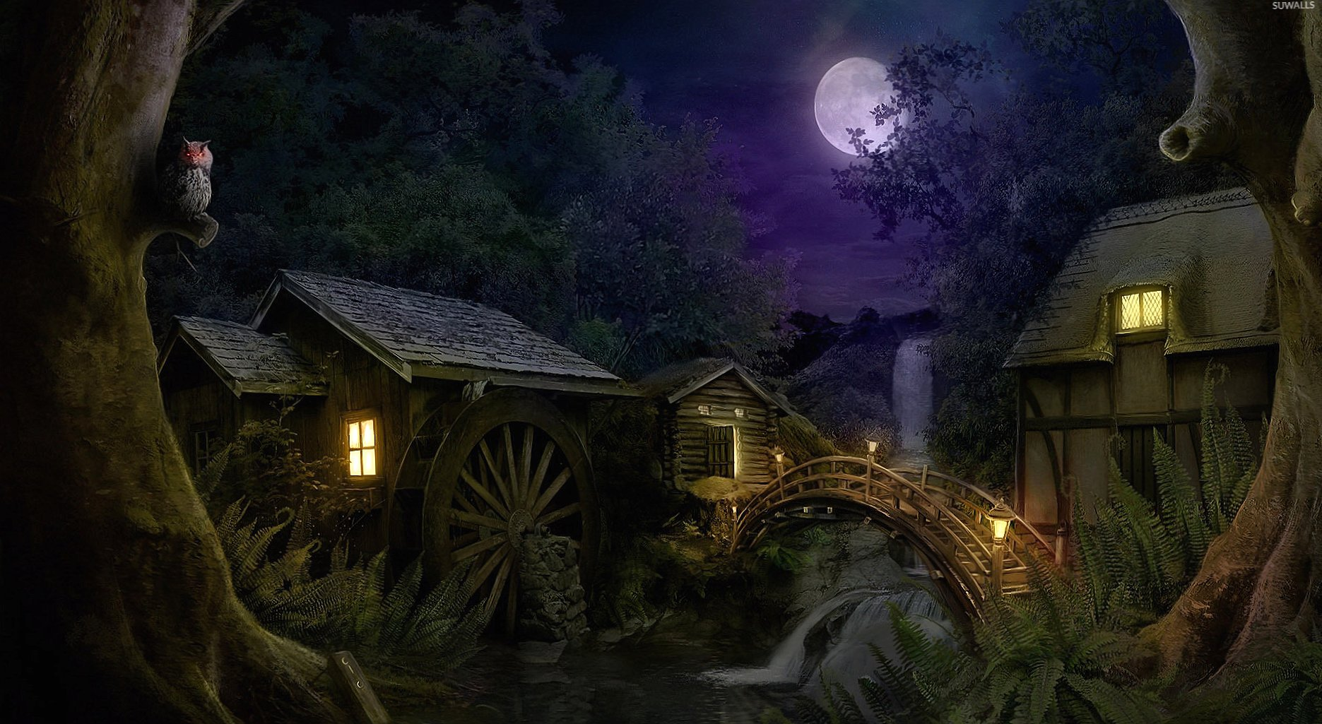 Hidden mill in the forest at night wallpapers HD quality