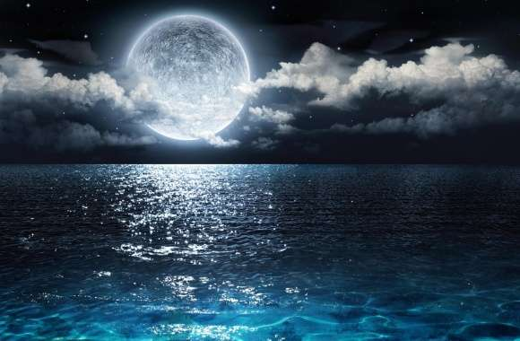 Moon and Ocean wallpapers hd quality