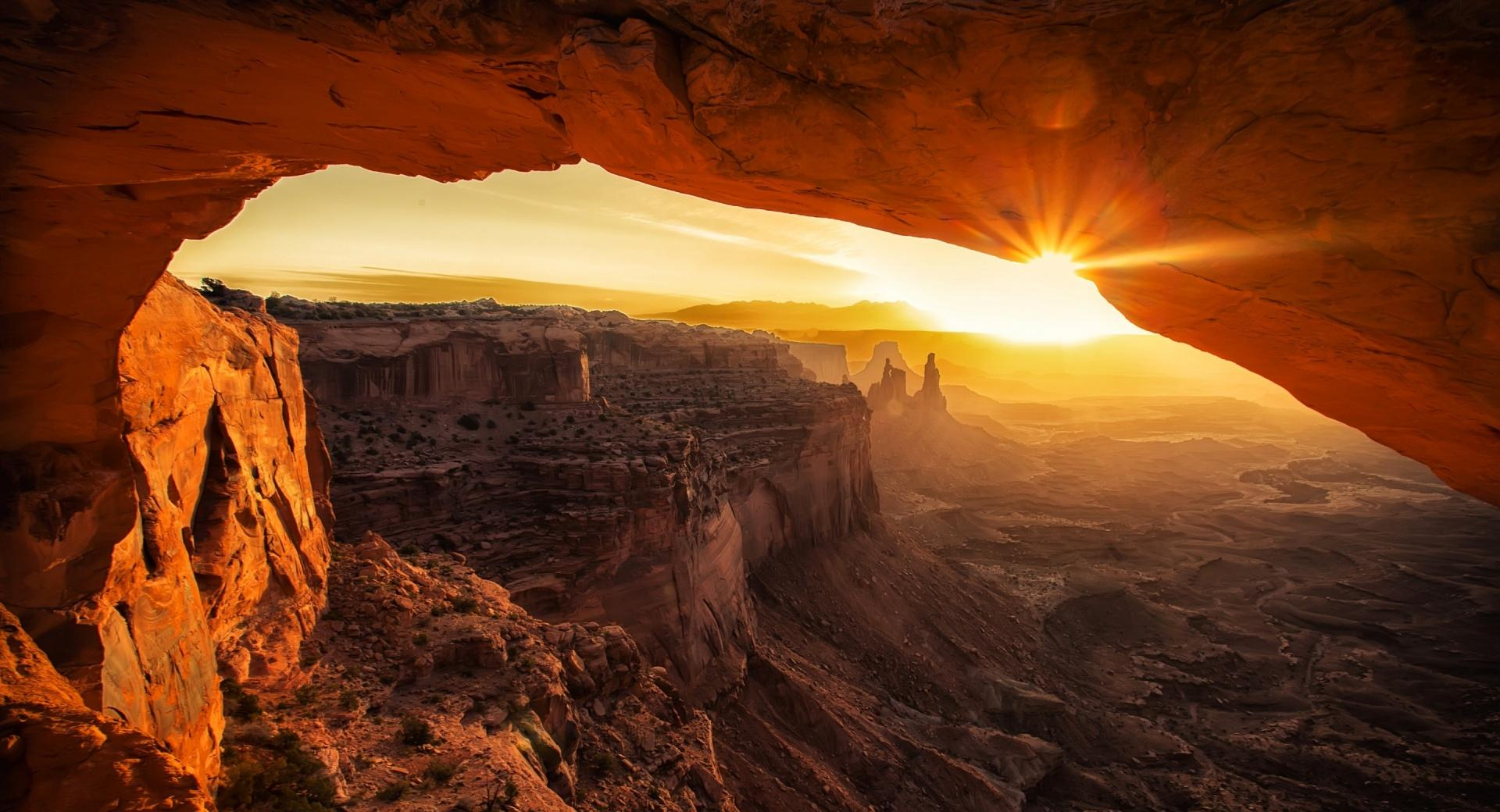 Canyonlands Cave Sunset wallpapers HD quality
