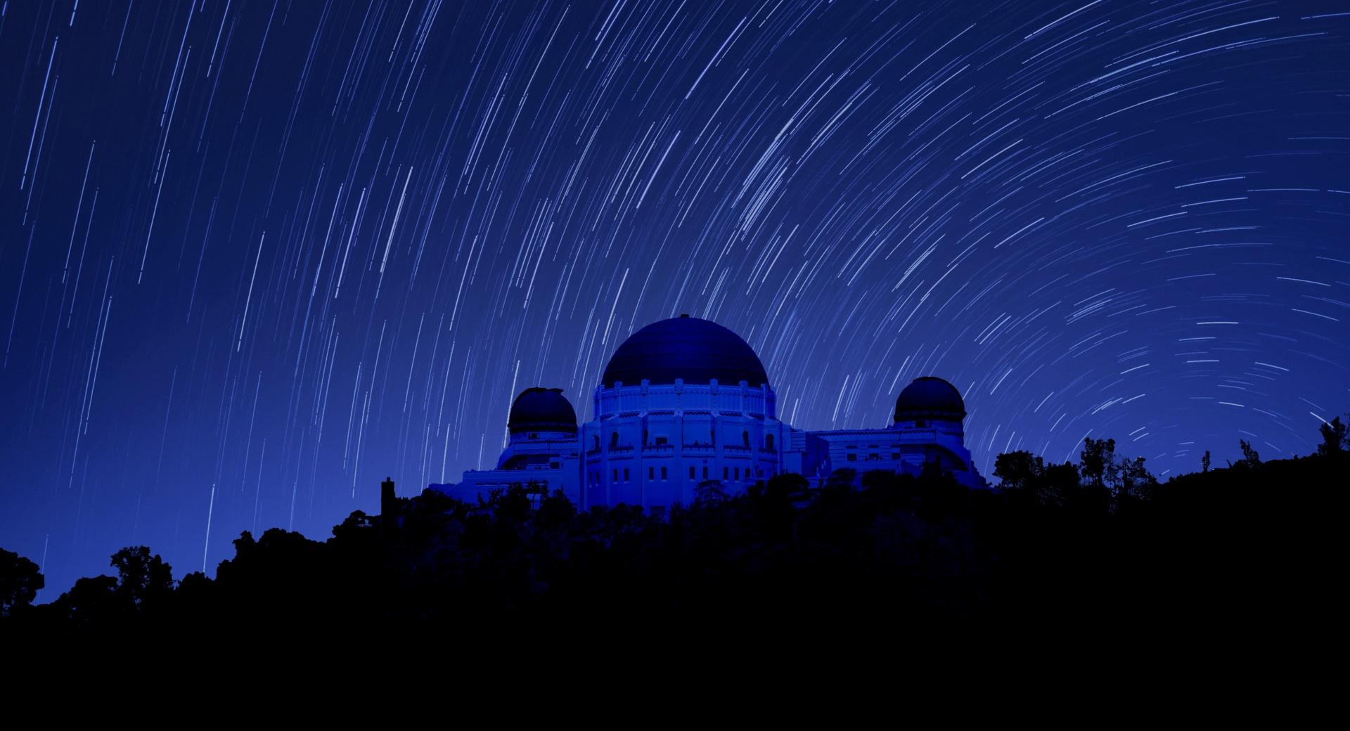 Griffith Observatory at Night, Star Trails wallpapers HD quality