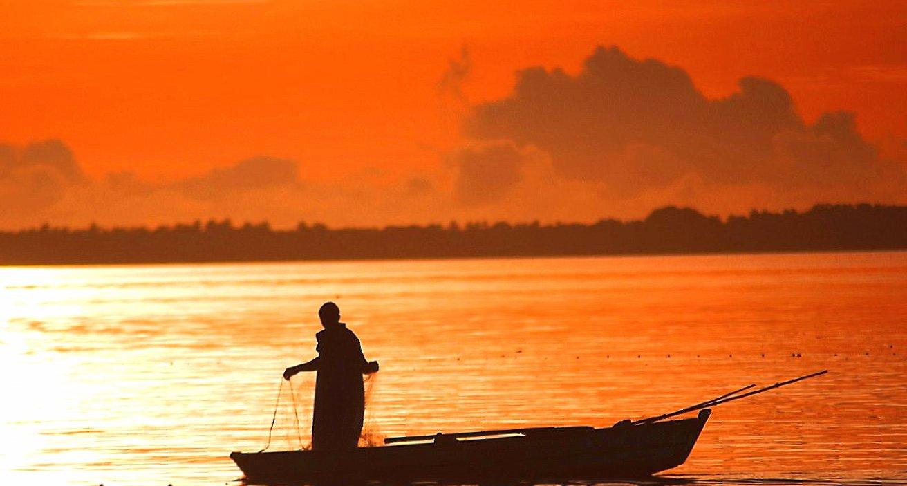 Orange sunset fisherman boat sea wallpapers HD quality