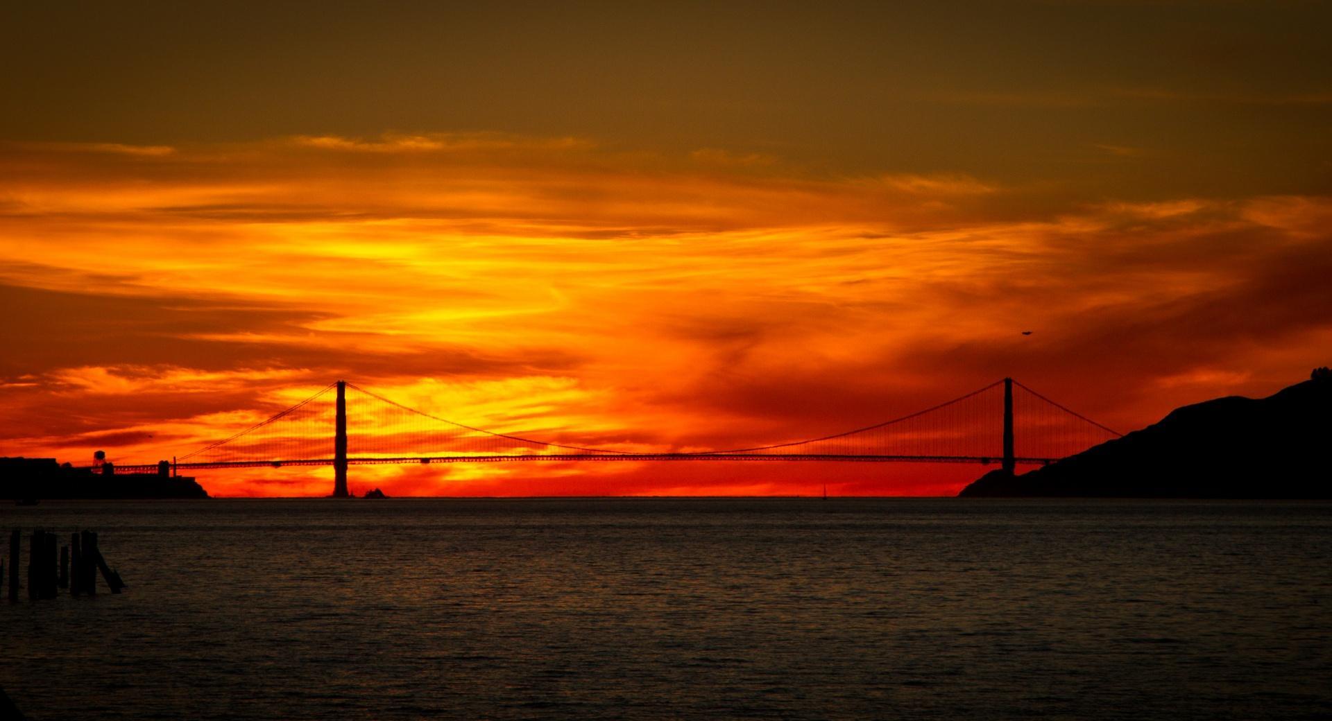 Red Sunrise Bridge wallpapers HD quality