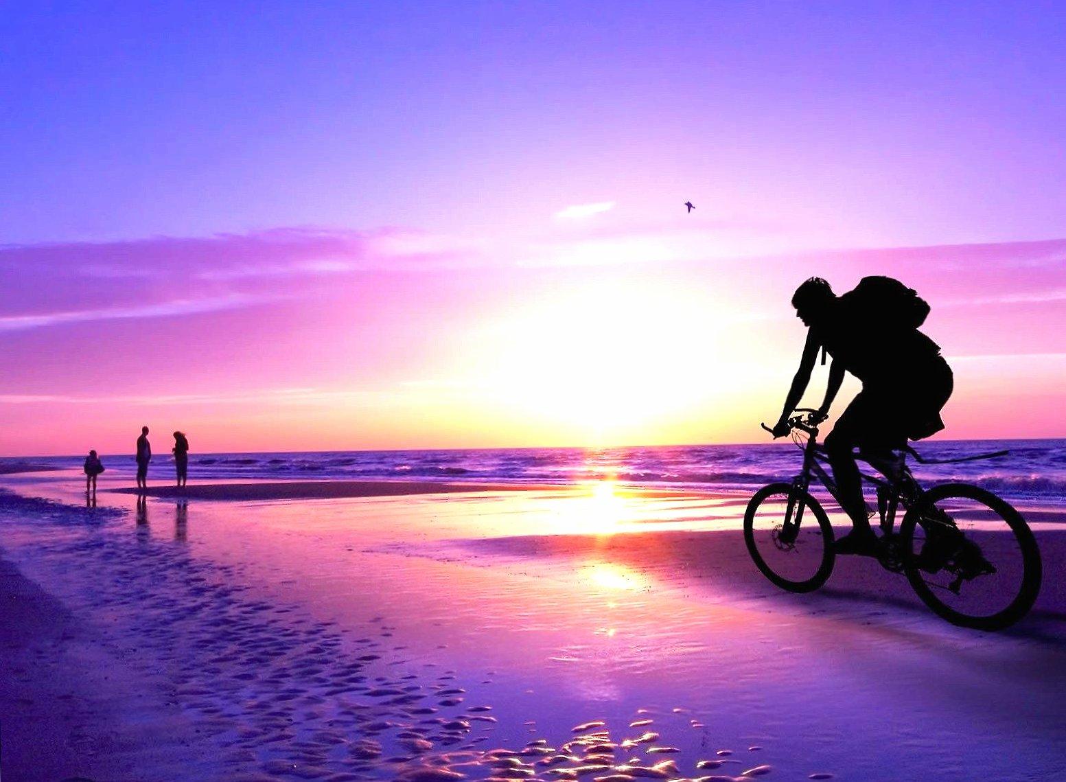 Sea sunset biker wallpapers HD quality
