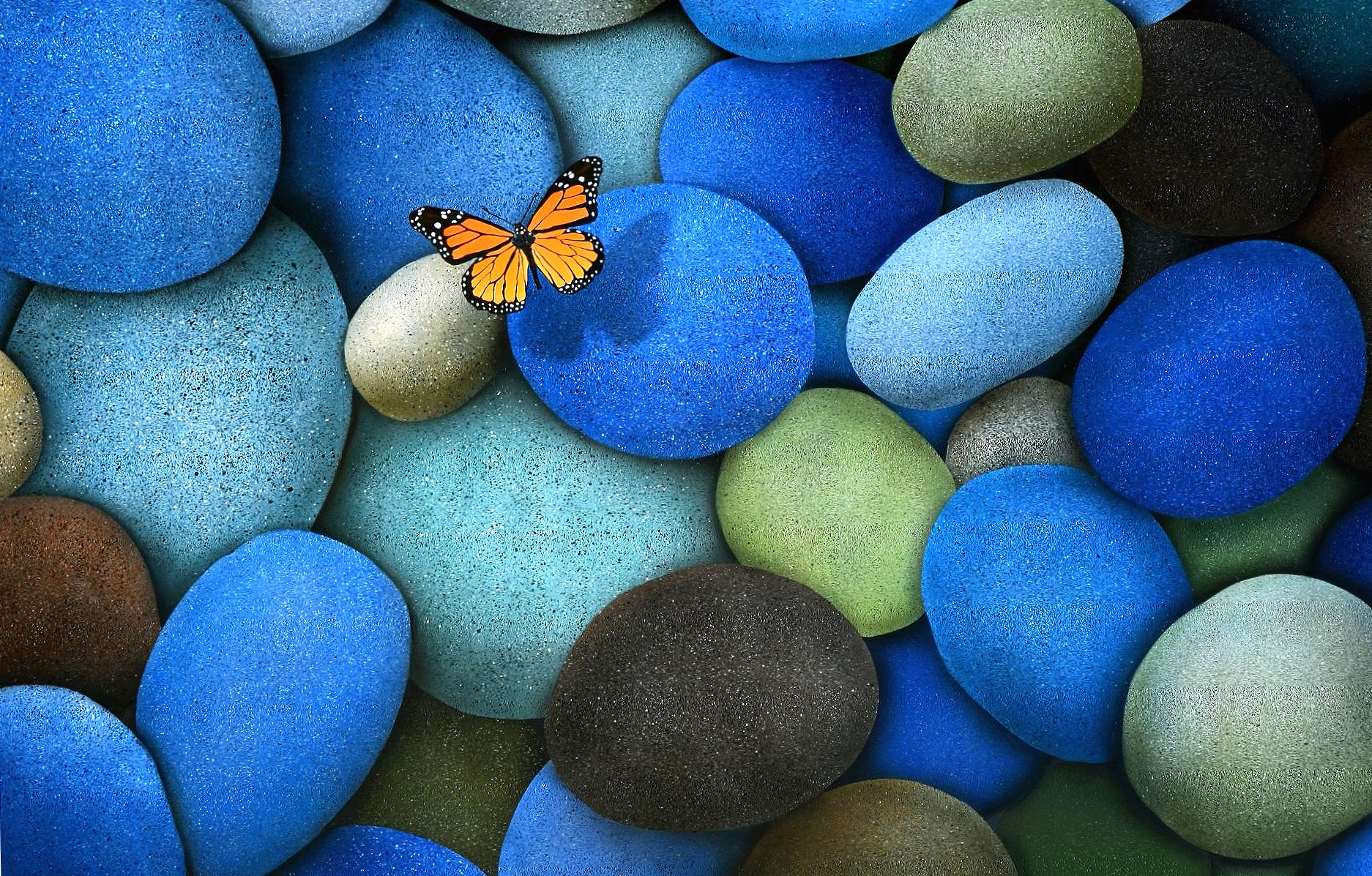 Stones with butterfly wallpapers HD quality