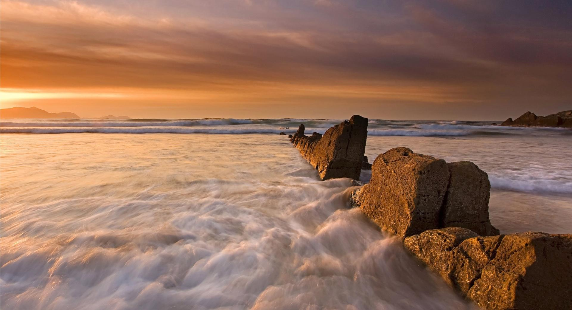 String Of Rocks, Evening wallpapers HD quality